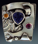Iolite silver ring