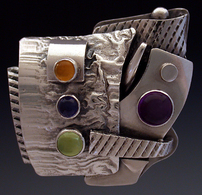 Ring, silver, set with Amethyst, Peridor, Iolite and Citrine.