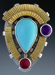 Ring, Silver and 14K Gold set with Sleeping beauty Turquoise, Amethyst and Garnet.