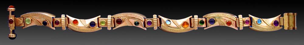 14k gold bracelet set with mixed gemstones.