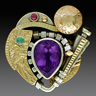 Ring, Silver and 14k gold set with Amethyst, Ruby, emerald and Iolite.