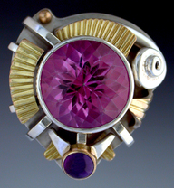 Ring, Silver and 14K Gold set with Pink Topaz and Amethyst.
