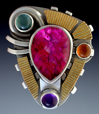 Ring, Silver and 14K Gold set with Pink Topaz, Amethyst, Green Tourmaline and Honey Citrine.