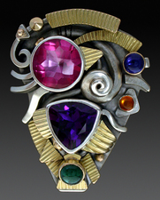Ring, Silver and 14K Gold set with Amethyst, Pink topaz, Iolite, Citine and Tourmaline.