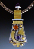 Pendant gold and siver with mix gemstones