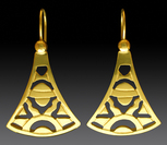 14k gold fan earrings