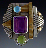 Ring, Silver and 14K Gold set with  Amethyst, Peridot and Blue Topaz.
