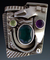 Ring, silver, set with Tourmaline, Amethyst and Peridot.
