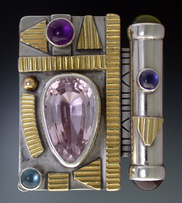 Ring, Silver and 14K Gold set with Pink Kunzite, Amethyst, Blue Topaz. Iolite, Garnet and Peridot.