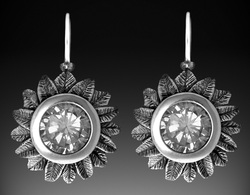 Sunflower earrings. Sterling silver and white CZ.