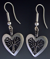 Sterling silver Heart and tree Earrings on wires.