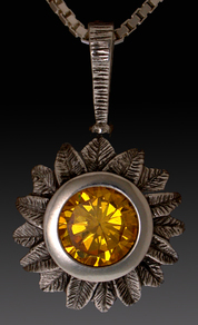 Silver Sunflower charm /  Pendant set with Yellow CZ.